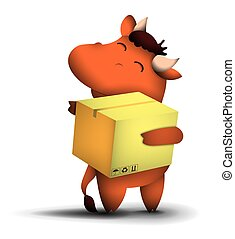 happy little bull with mailbox in hands, symbol of 2021 according to the Chinese calendar with satisfied smile on his face. Giving gifts for holidays. Funny animals. Vector