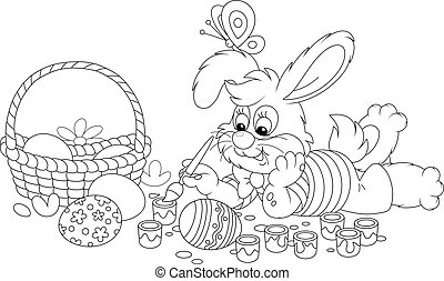 Happy little bunny painting ornate Easter eggs