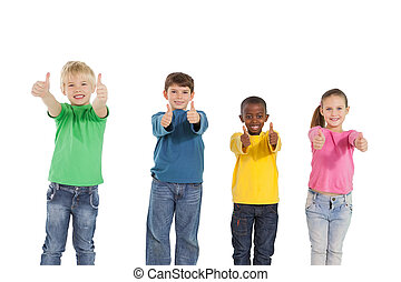 Happy little children showing thumbs up on white background