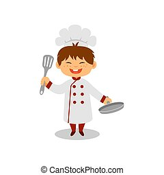 Happy little cook with pan and spatula in hands. Cheerful boy in chef uniform. Dream job. Flat vector design