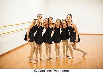 Happy little dancers in a ballet class - Full length...