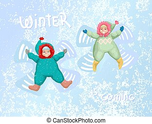 Happy little girl and boy making a snow angels. Vector illustration