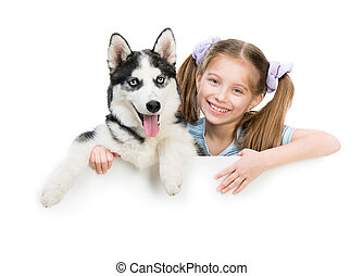 happy little girl and dog Husky
