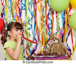 Happy little girl birthday party