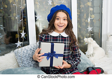 happy little girl celebrate winter holiday. delivery christmas gifts. happy new year. christmas time. Family. Beat Christmas rush. morning before Xmas. Childhood. Come Santa Clause and don t delay