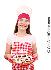 happy little girl cook with cherry pie