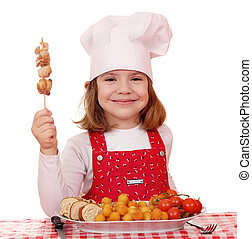 happy little girl cook with grilled chicken meat