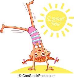 Happy little girl doing cartwheel on sea beach
