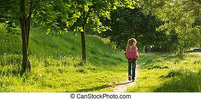 happy little girl go to school