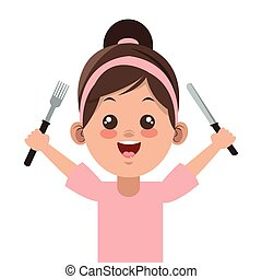 happy little girl holding fork and knife icon