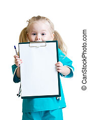 Happy little girl in doctor uniform with medical tools