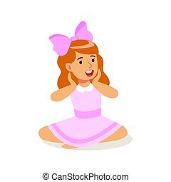 Happy little girl in pink dress sitting with crossed legs on the floor. Colorful cartoon character vector Illustration