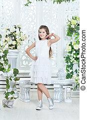 little girl in white dress