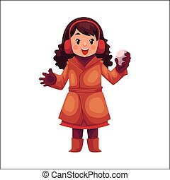Happy little girl in winter clothes with a snowball
