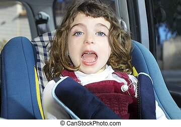 happy little girl inside car security children chair