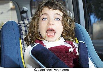 happy little girl inside car security children chair