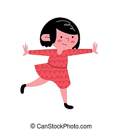 happy little girl kid with red dress character