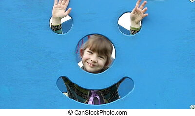 happy little girl on playground