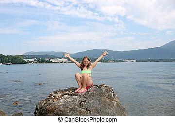 happy little girl on vacation Corfu island Greece
