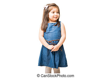 Happy little girl on white background