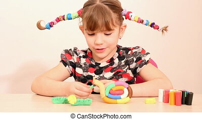 happy little girl play