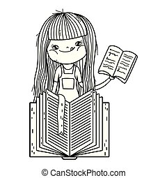 happy little girl reading book