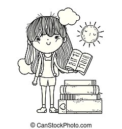 happy little girl reading books