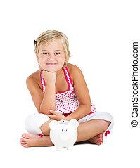 happy little girl sitting on floor