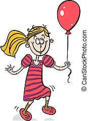 Happy little girl smiling with balloon.