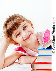 Little Girl with a Books - Happy Little Girl with a Books on...