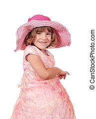 happy little girl with big hat portrait