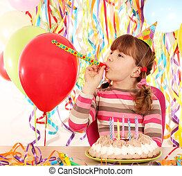 happy little girl with birthday cake