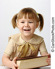 Happy little girl with book, back to school - Happy little ...