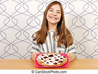 happy little girl with cherry pie