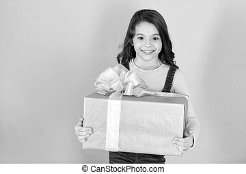 Happy little girl with gift box black and white