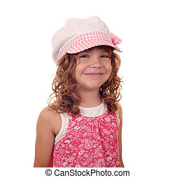 happy little girl with hat portrait