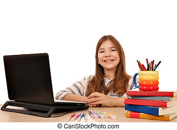 happy little girl with laptop at home