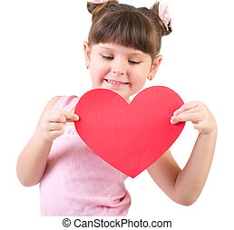 Happy little girl with red heart