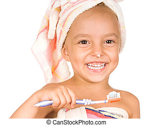 Happy little girl with toothbrush