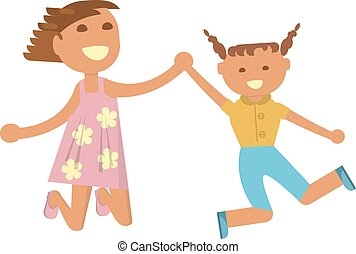 Happy little girls is jumping on white background. Vector...
