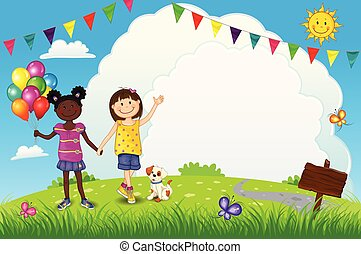 Happy Little Girls With Balloons Outdoors - Editable - With...