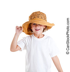 happy little kid girl with summer hat isolated