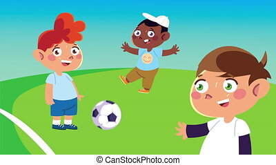 happy little kids playing soccer animation characters