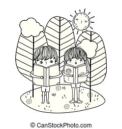 happy little kids reading books in the landscape