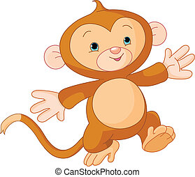 Happy little Monkey - Illustration of Happy running little...