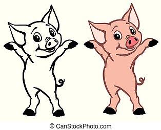 happy little piglet