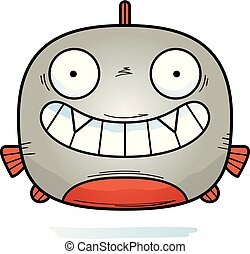 Happy Little Piranha - A cartoon illustration of a piranha...