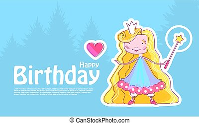Happy Little Princess Birthday Card Template with Fairy Girl with Crown, Magic Wand and Pink Heart. Vector illustration