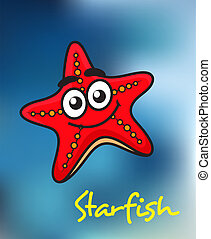 Happy little red cartoon starfish