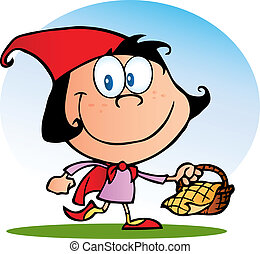 Happy Red Riding Hood Walking With A Goodie Basket